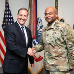 Administrative Assistant to the Secretary of the Army Mr. Gerald B. O'Keefe presents a coin to Staff Sgt. Carlton Duncan at the Pentagon in Arlington, Va., Feb. 15, 2017. (U.S. Army photo by ...
