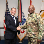 Administrative Assistant to the Secretary of the Army Mr. Gerald B. O'Keefe presents a coin to Lt. Col. Vida Burrell at the Pentagon in Arlington, Va., Feb. 15, 2017. (U.S. Army photo by Spc ...