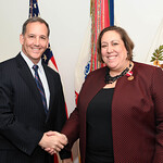 Administrative Assistant to the Secretary of the Army Mr. Gerald B. O'Keefe presents the superior civilian service award to Ms. Angie Ritz at the Pentagon in Arlington, Va., Feb. 15, 2017. ( ...