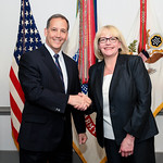 Administrative Assistant to the Secretary of the Army Mr. Gerald B. O'Keefe presents a coin to Kathy Anshant at the Pentagon in Arlington, Va., Feb. 15, 2017. (U.S. Army photo by Spc. Tammy  ...