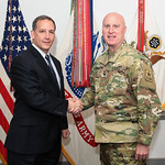 Administrative Assistant to the Secretary of the Army Mr. Gerald B. O'Keefe presents a coin to Col. Brian Halloran at the Pentagon in Arlington, Va., Feb. 15, 2017. (U.S. Army photo by Spc.  ...