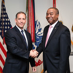 Administrative Assistant to the Secretary of the Army Mr. Gerald B. O'Keefe presents a coin to Gregg Dotson at the Pentagon in Arlington, Va., Feb. 15, 2017. (U.S. Army photo by Spc. Tammy N ...