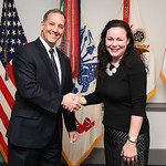 Administrative Assistant to the Secretary of the Army Mr. Gerald B. O'Keefe presents a coin to Ms. Elizabeth Simpson at the Pentagon in Arlington, Va., Feb. 15, 2017. (U.S. Army photo by Spc ...