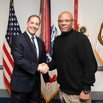 Administrative Assistant to the Secretary of the Army Mr. Gerald B. O'Keefe presents a coin to Mr. Tony Hoskie at the Pentagon in Arlington, Va., Feb. 15, 2017. (U.S. Army photo by Spc. Tamm ...