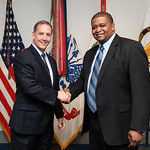 Administrative Assistant to the Secretary of the Army Mr. Gerald B. O'Keefe presents a coin to Dexter Appleberry at the Pentagon in Arlington, Va., Feb. 15, 2017. (U.S. Army photo by Spc. Ta ...
