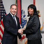 Administrative Assistant to the Secretary of the Army Mr. Gerald B. O'Keefe presents a coin to Ms. Cassandra Nolan-Walker at the Pentagon in Arlington, Va., Feb. 15, 2017. (U.S. Army photo b ...
