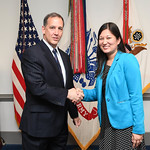 Administrative Assistant to the Secretary of the Army Mr. Gerald B. O'Keefe presents a coin to Ms. Michele Fry at the Pentagon in Arlington, Va., Feb. 15, 2017. (U.S. Army photo by Spc. Tamm ...