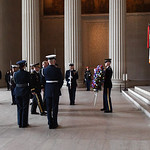 U.S. Army Brig. Gen. Mark C. Strong, deputy director for operations readiness and mobilization, lays a wreath during the Armed Forces Full Honor Wreath Ceremony in honor of President Abraham ...